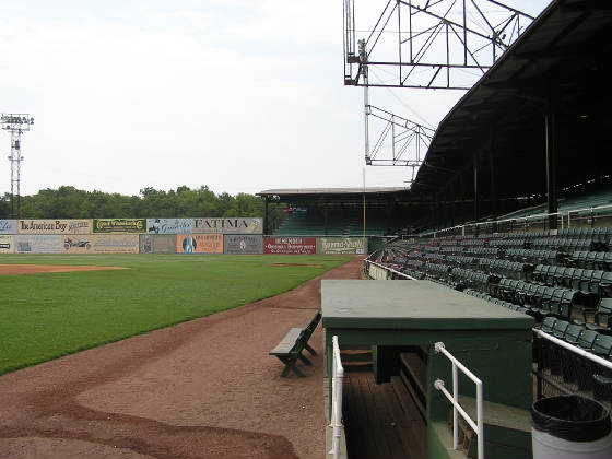 At field level - Notice the Lights -Rickwood Field