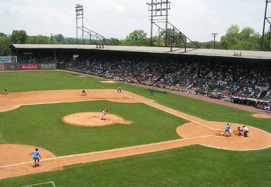 Game action from the 3rd base roof - Rickwood